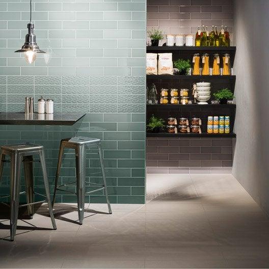 Fa ence mur vert vintage x cm leroy merlin for Faience cuisine retro