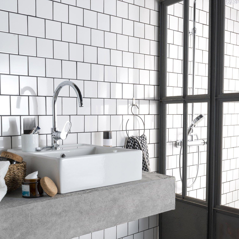 fa ence mur blanc blanc n 0 brillant astuce x cm leroy merlin. Black Bedroom Furniture Sets. Home Design Ideas