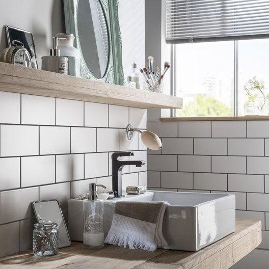 Fa ence mur blanc blanc astuce x cm leroy merlin for Frise faience cuisine