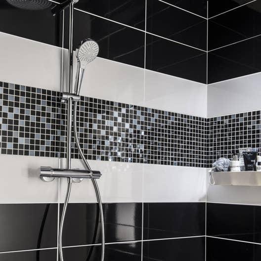 Fa ence mur noir noir n 0 loft brillant x cm - Idees pose de faience ou de mosaique dans la salle de bain ...