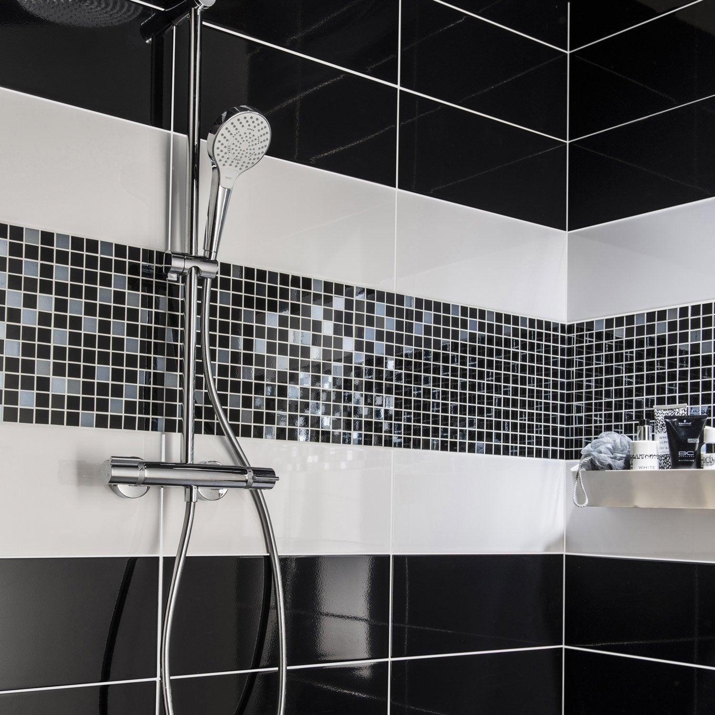Faïence mur noir noir n°0, Loft brillant l.20 x L.50.2 cm | Leroy ...