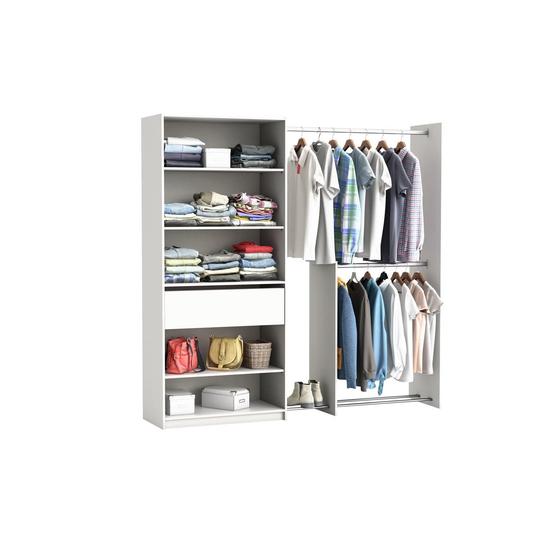 Kit Dressing Blanc Star H 203 X L 180 X P 40 Cm Leroy Merlin # Dressing A Mettre Dans Une Chambre Sur Un Mur Entier Avec Tele Incorporee