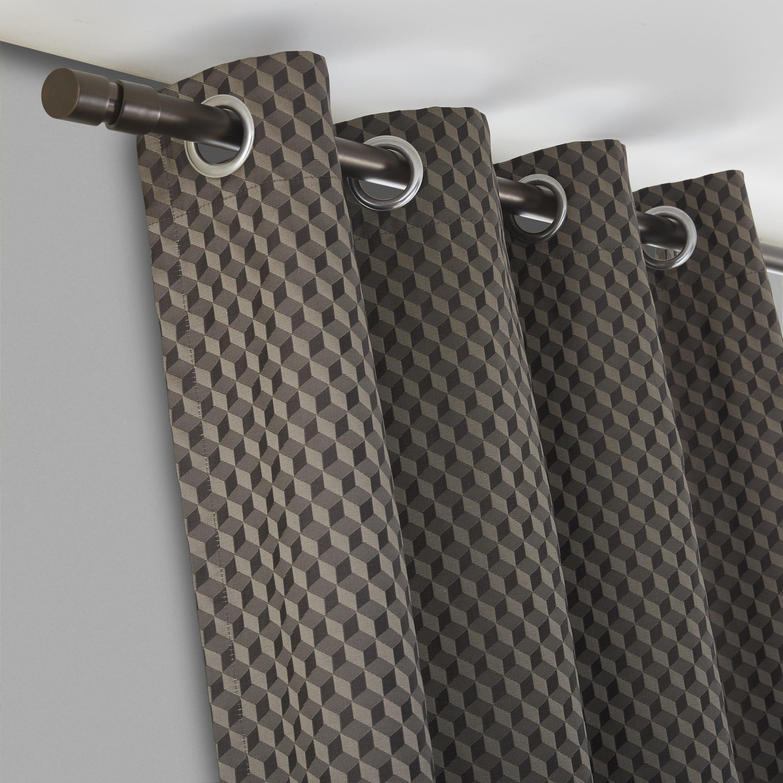 Rideau tamisant, Zebulon, taupe, l.140 x H.260 cm