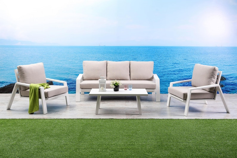 Salon bas de jardin Ibiza aluminium blanc, 5 personnes