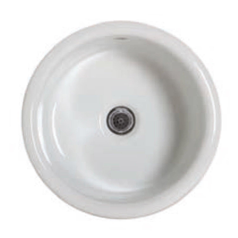 Evier à encastrer 1 cuve, céramique, blanc Disco