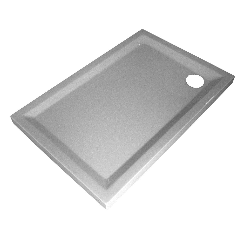 receveur de douche rectangulaire x cm acrylique blanc houston leroy merlin. Black Bedroom Furniture Sets. Home Design Ideas