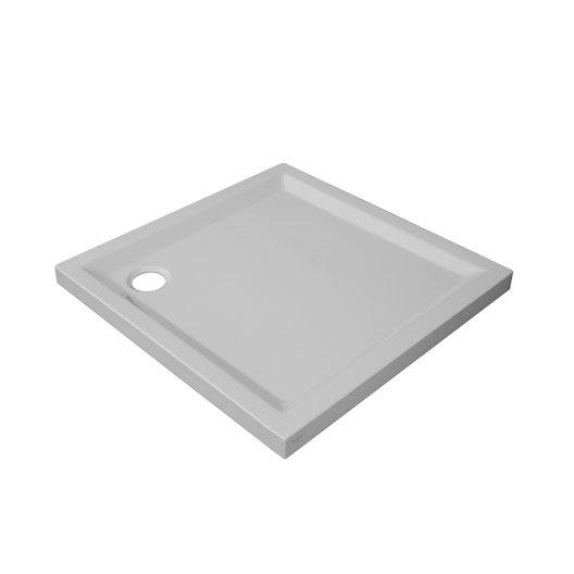 receveur de douche carr x cm acrylique blanc houston leroy merlin. Black Bedroom Furniture Sets. Home Design Ideas