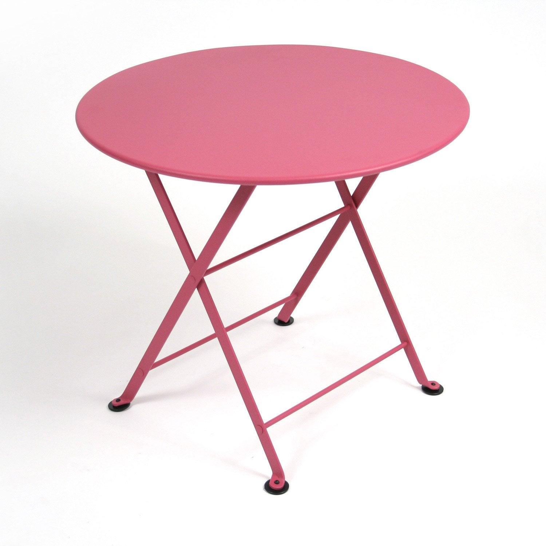 Table de jardin pour enfants FERMOB Tom pouce ronde fuschia 2 ...