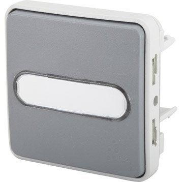 Poussoir porte-étiquette étanche, à voyant, lumineux LEGRAND, Plexo, gris