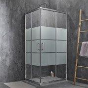 Porte de douche coulissante SENSEA Optima 2 verre sérigraphié chromé