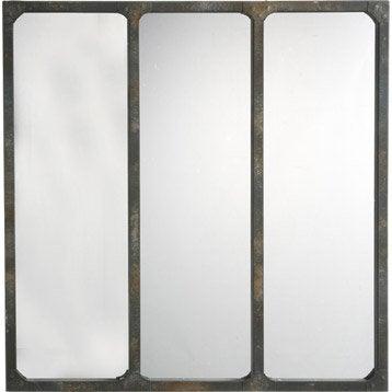 Miroir 3 bandes gris 70x70 cm for Miroir 3 bandes