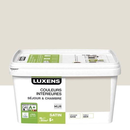 Peinture blanc lin 2 luxens couleurs int rieures 5 l for Peinture mur blanc mat ou satin