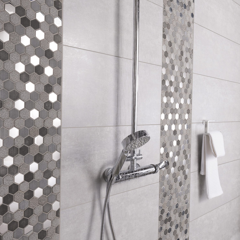 Carrelage mur et sol béton gris mat l.29.7 x L.59.5 cm, Trésor