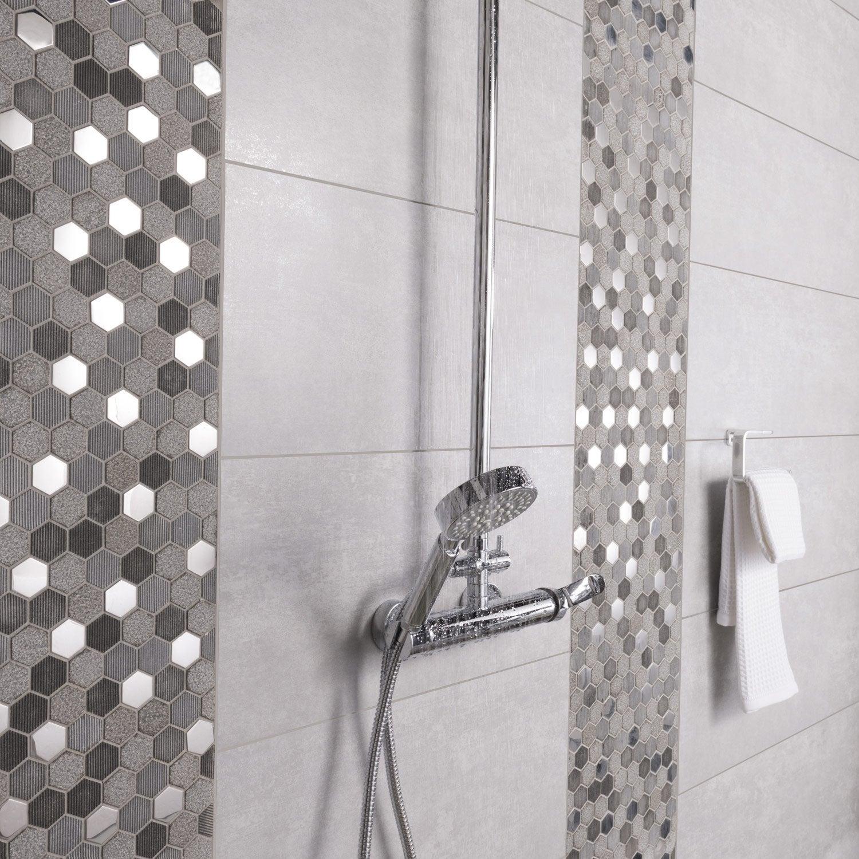 Carrelage Sol Et Mur Gris Trésor L X L Cm Leroy Merlin - Carrelage sol salle de bain leroy merlin