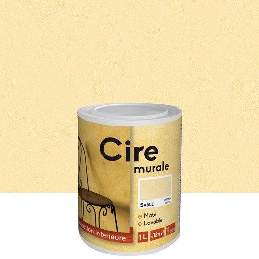 Peinture effet id cire sable 1 l leroy merlin for Peinture acrylique pour mur interieur