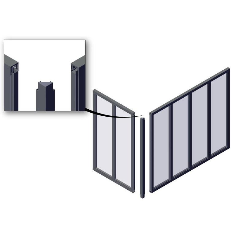 Poteau D Angle Pour Verrière En Kit Aluminium Noir