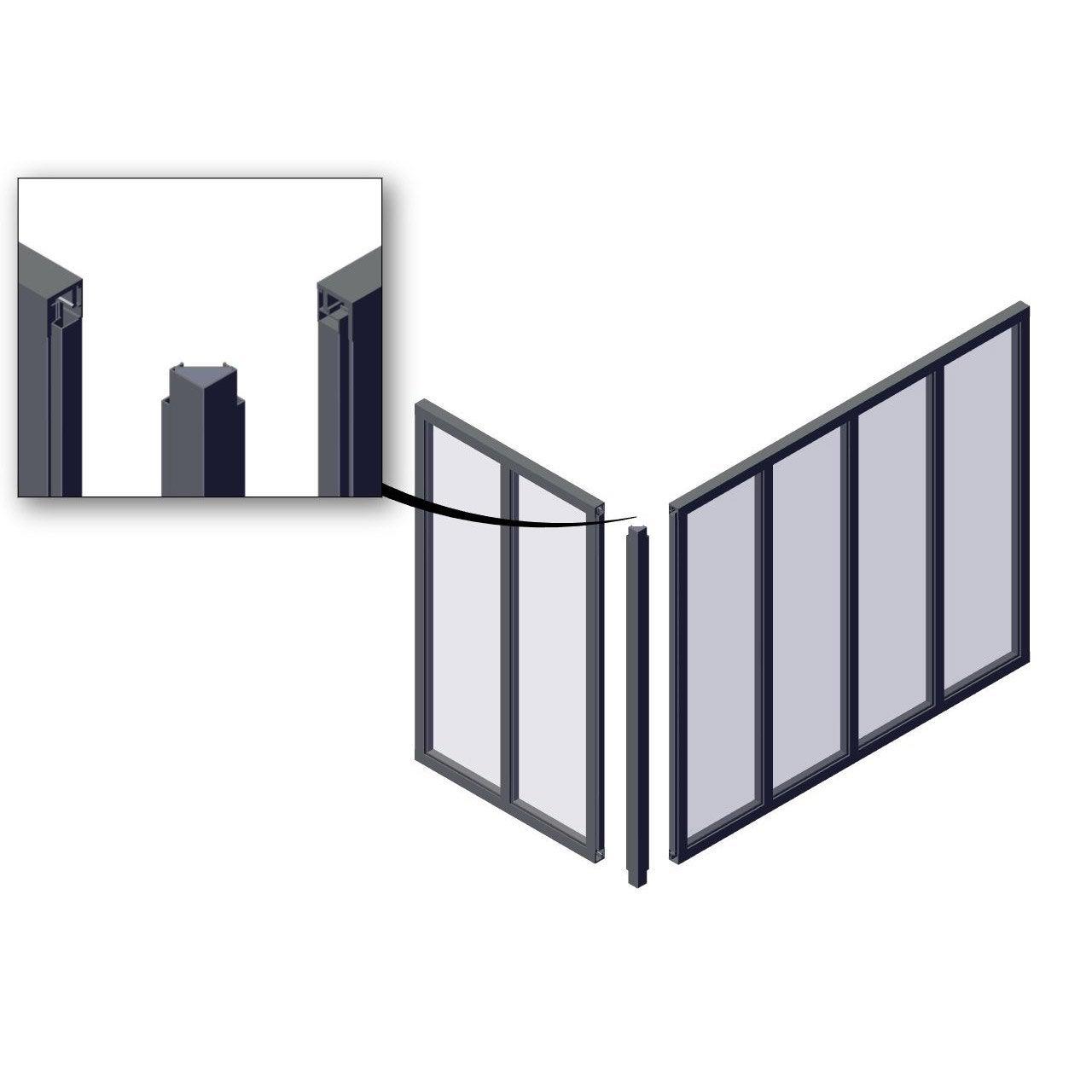 Poteau Dangle Pour Verrière En Kit Aluminium Noir