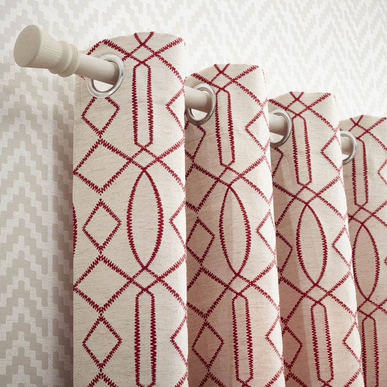 Rideau tamisant, Utah, blanc et rouge, l.140 x H.260 cm | Leroy Merlin