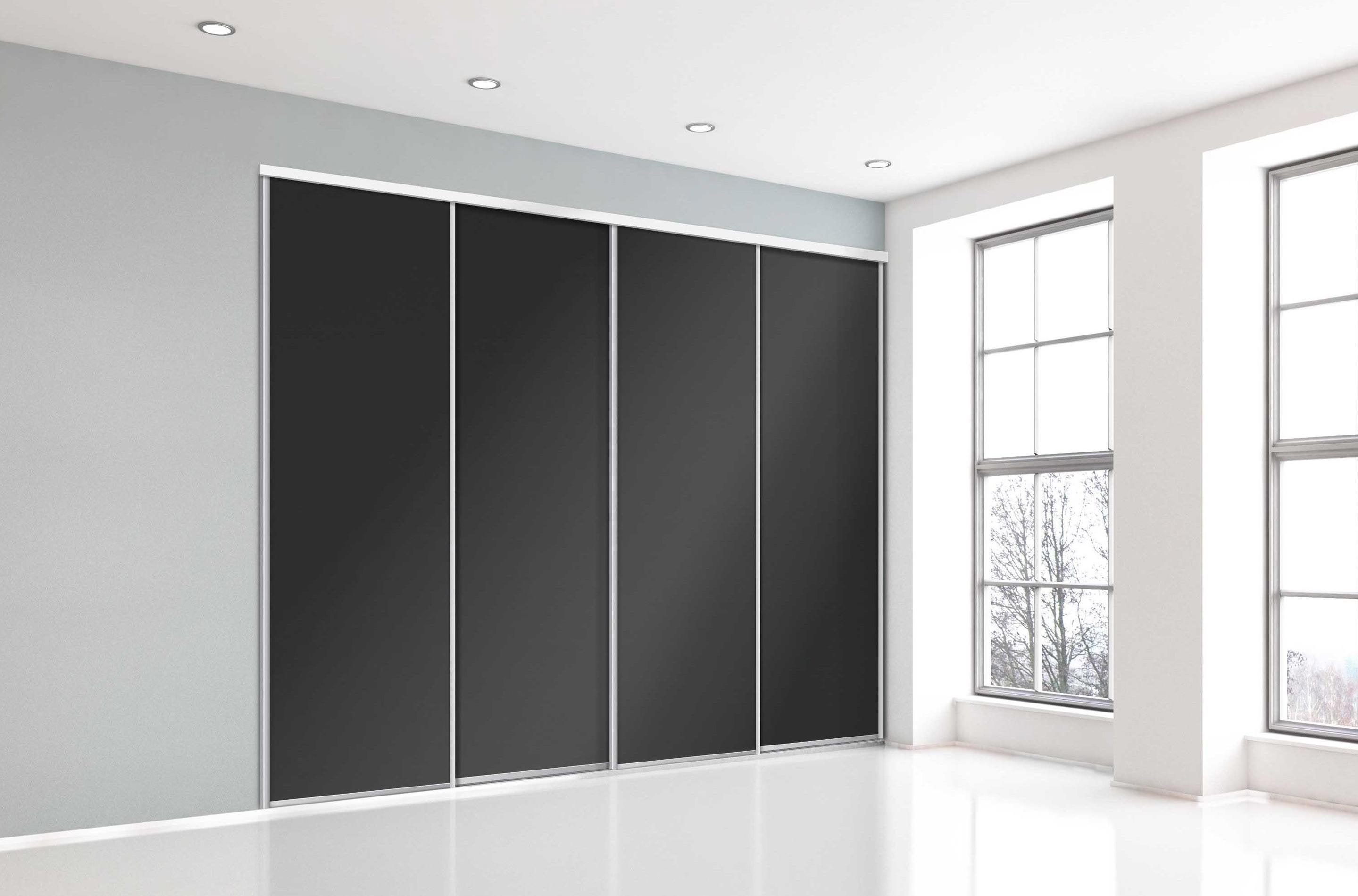 Creer Des Portes De Placard Coulissantes porte de placard coulissante noir l.98.7xh.250cm
