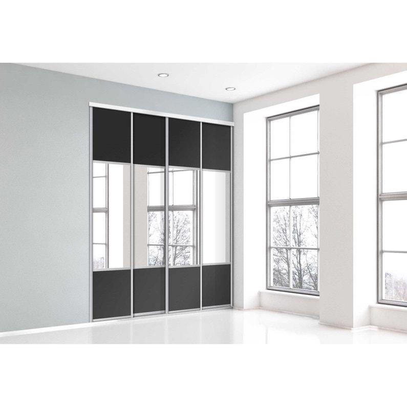 Porte De Placard Coulissante Noir Miroir Spaceo L 67 X H 250 Cm