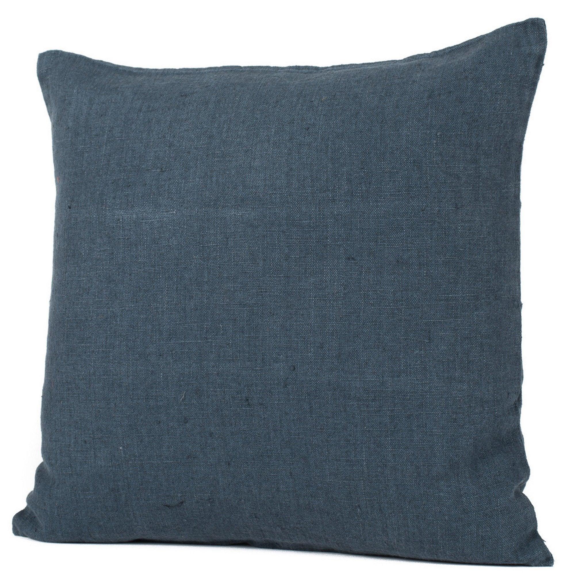 Coussin Solenzara lin lavé, bleu navy l.45 x H.45 cm
