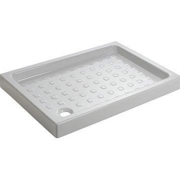 Receveur de douche rectangulaire l.100 x l.70 cm, grès blanc Nerea