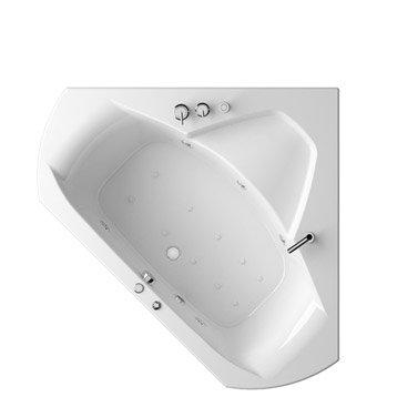 Baignoire balnéo angle L.140x l.140 cm, THALA Confort