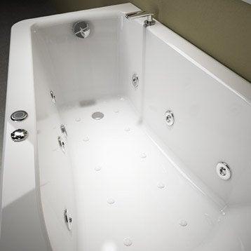 Baignoire balnéo avec robinetterie asymétrique L.160x l.90 cm, THALA Confort