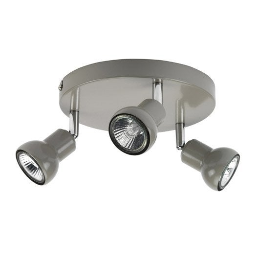 plafonnier 3 spots halog ne 3 x gu10 taupe vista leroy merlin. Black Bedroom Furniture Sets. Home Design Ideas