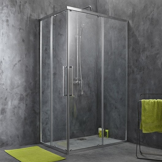 Porte de douche coulissante angle rectangle 120 x 80 cm transparent purit - Porte coulissante douche 100 ...