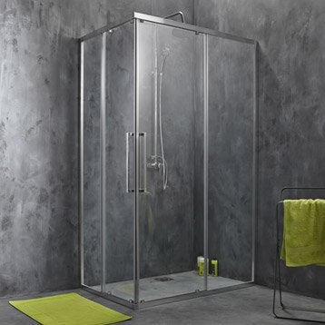 Porte de douche coulissante, angle rectangle, 120  x 80 cm, transparent, Purity3