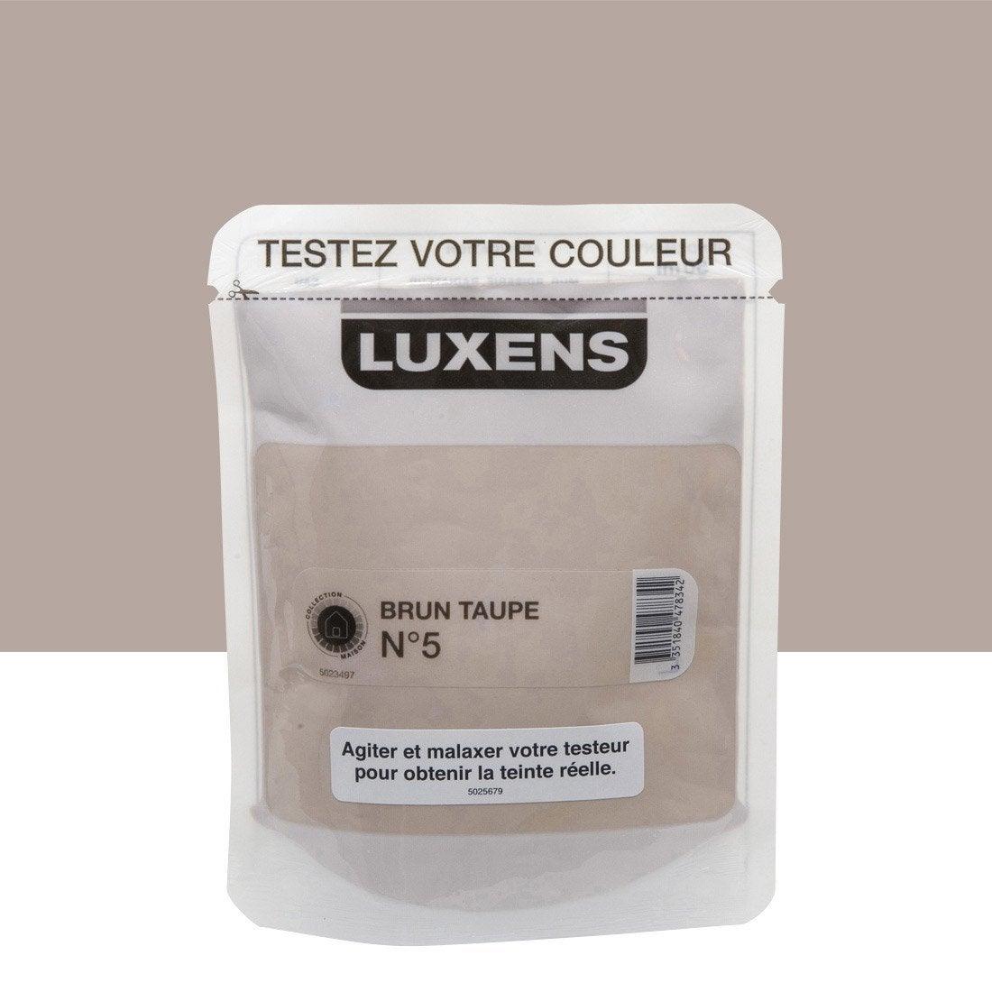 testeur peinture brun taupe 5 satin luxens couleurs int rieures satin l leroy merlin. Black Bedroom Furniture Sets. Home Design Ideas