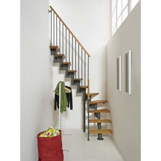 Escalier modulaire strong marches bois structure m tal - Marche escalier leroy merlin ...