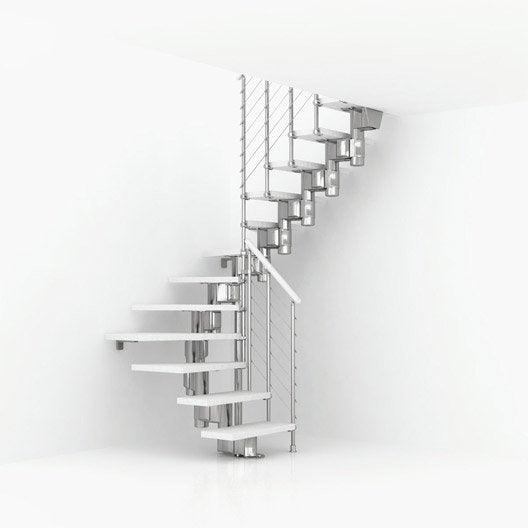Escalier modulaire long structure m tal marche bois - Escalier sur mesure leroy merlin ...