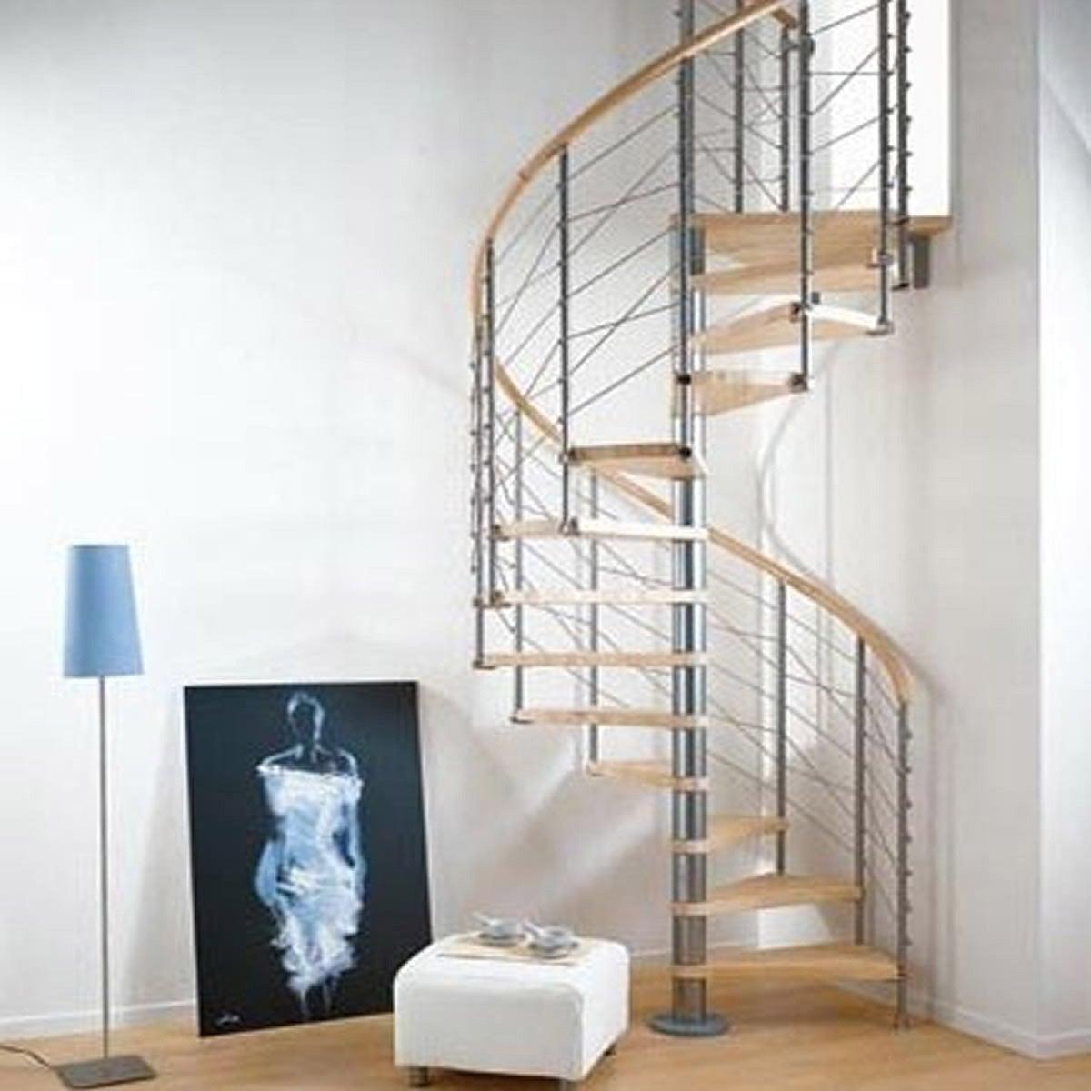Escalier Colimacon Rond Ring Structure Metal Marche Bois Leroy Merlin