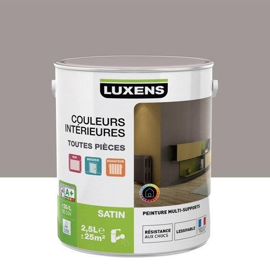 Peinture gris poivre 4 luxens couleurs int rieures satin 2 5 l leroy merlin for Peintures interieures leroy merlin