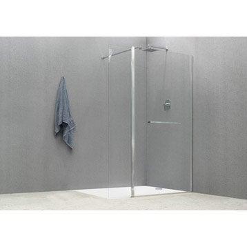 Paroi de douche à l'italienne, l.90+40 cm verre transparent 8 mm Cube