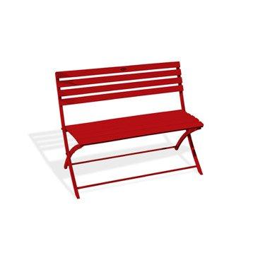 Banc 2 places de jardin en aluminium Marius rouge
