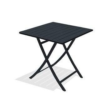 Table de jardin Marius carrée gris anthracite 2 personnes