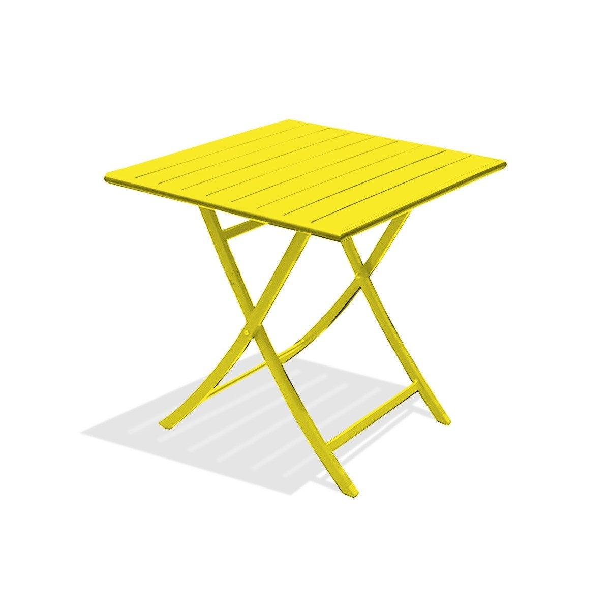 Table de jardin Marius carrée jaune zinc 2 personnes | Leroy Merlin