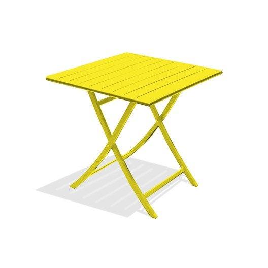 Table de jardin marius carr e jaune zinc 2 personnes for Table 2 personnes