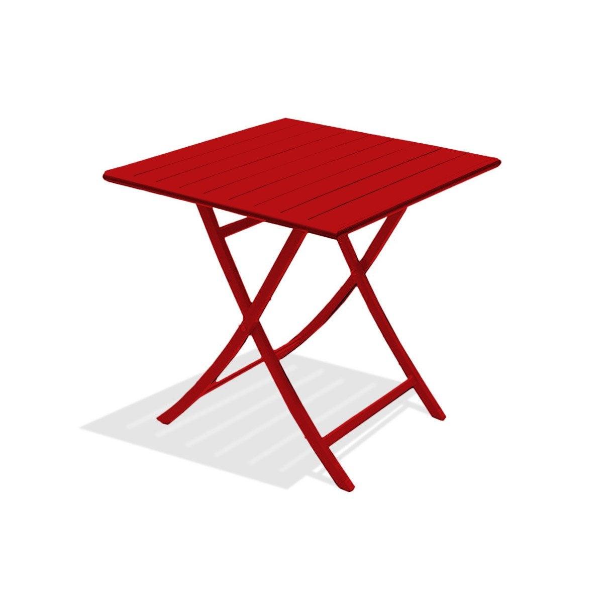 Table de jardin Marius carrée rouge carmin 2 personnes | Leroy Merlin