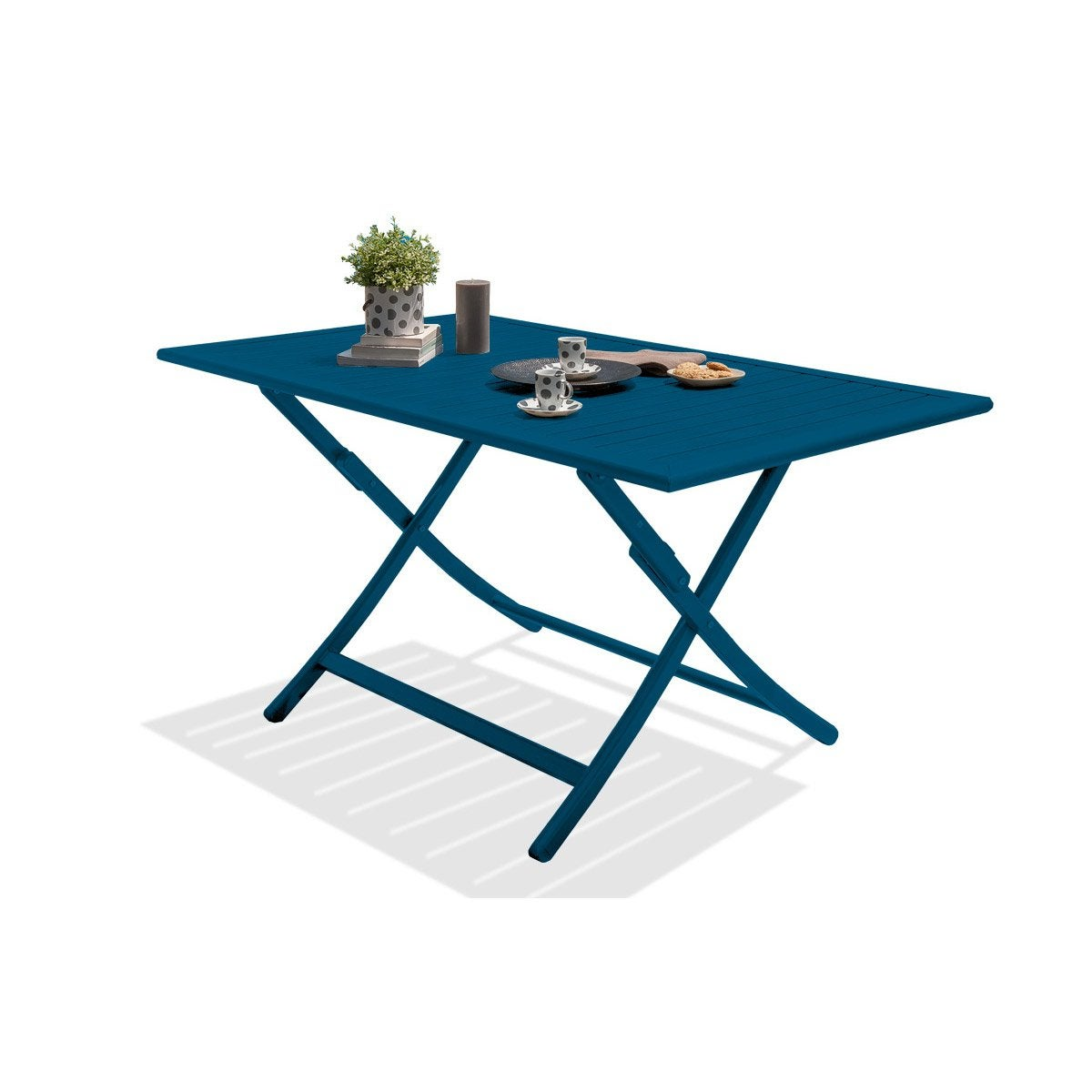 Table de jardin marius rectangulaire bleu riviera 4 6 for Table jardin bleu