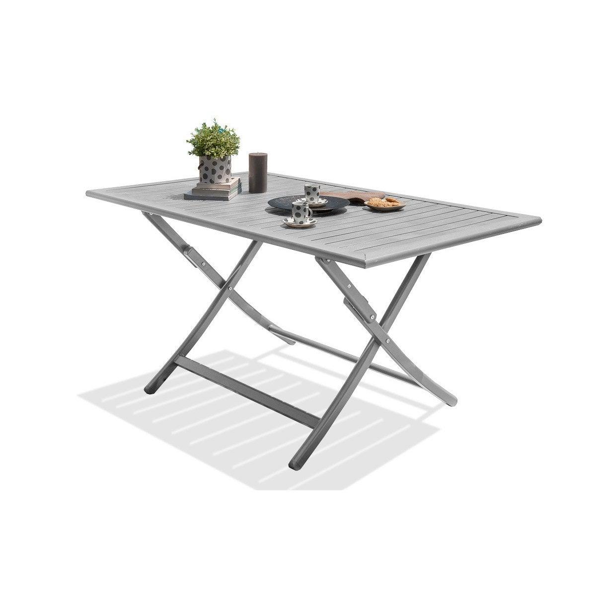 Table de jardin de repas Marius rectangulaire gris métal 4/6 ...
