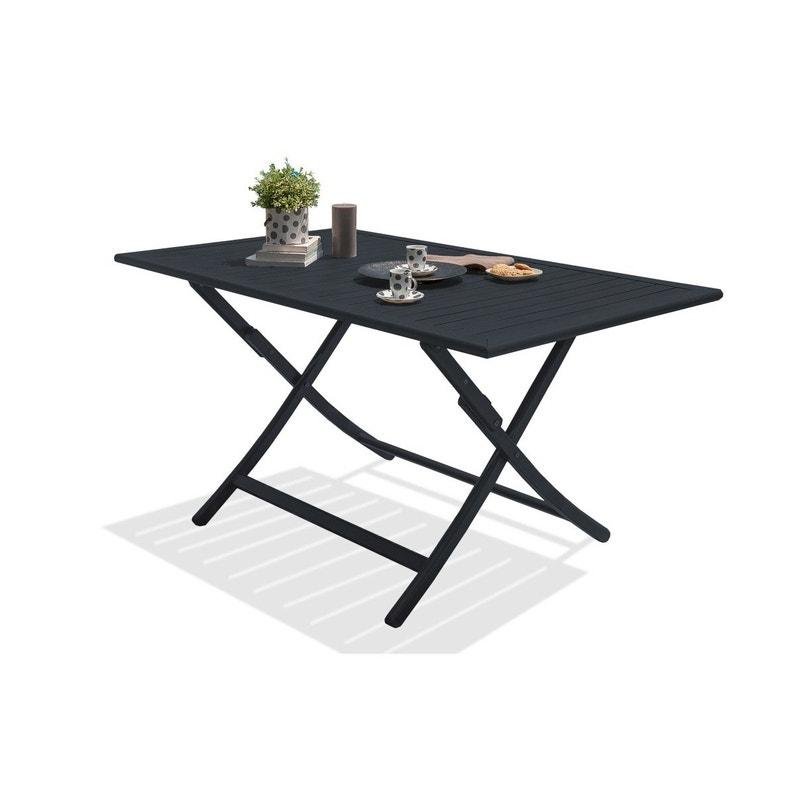 Table de jardin de repas Marius rectangulaire gris anthracite 4/6 ...