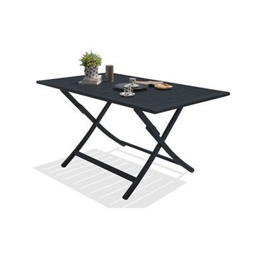 Table de jardin Marius rectangulaire gris anthracite 4/6 personnes