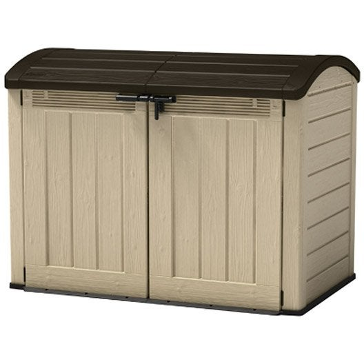 Armoire jardin r sine store it out ultra beige marron l for Coffre jardin brico depot