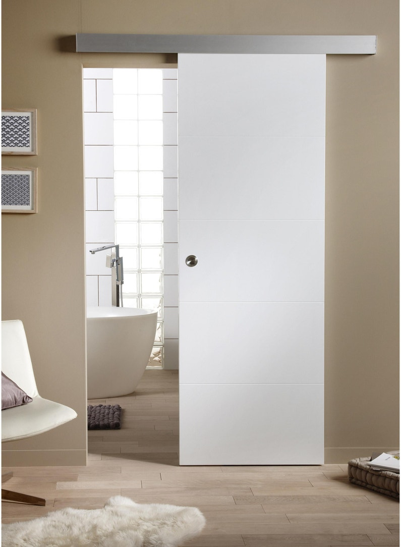 Porte Coulissante Blanc Alaska Blanc H204 X L73 Cm
