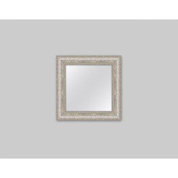 Miroir Orné strié, argent, l.50 x H.50 cm