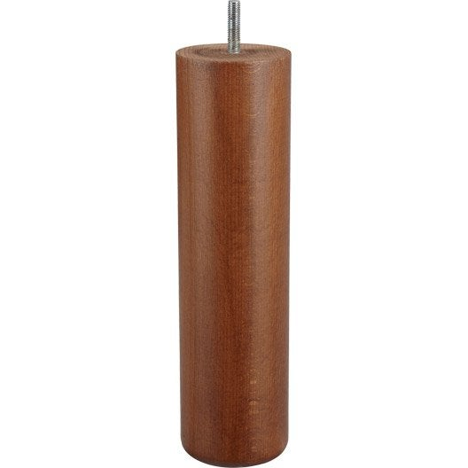 Pied de lit sommier cylindrique fixe en h tre teint marron 25cmx68mm - Leroy merlin pied de lit ...